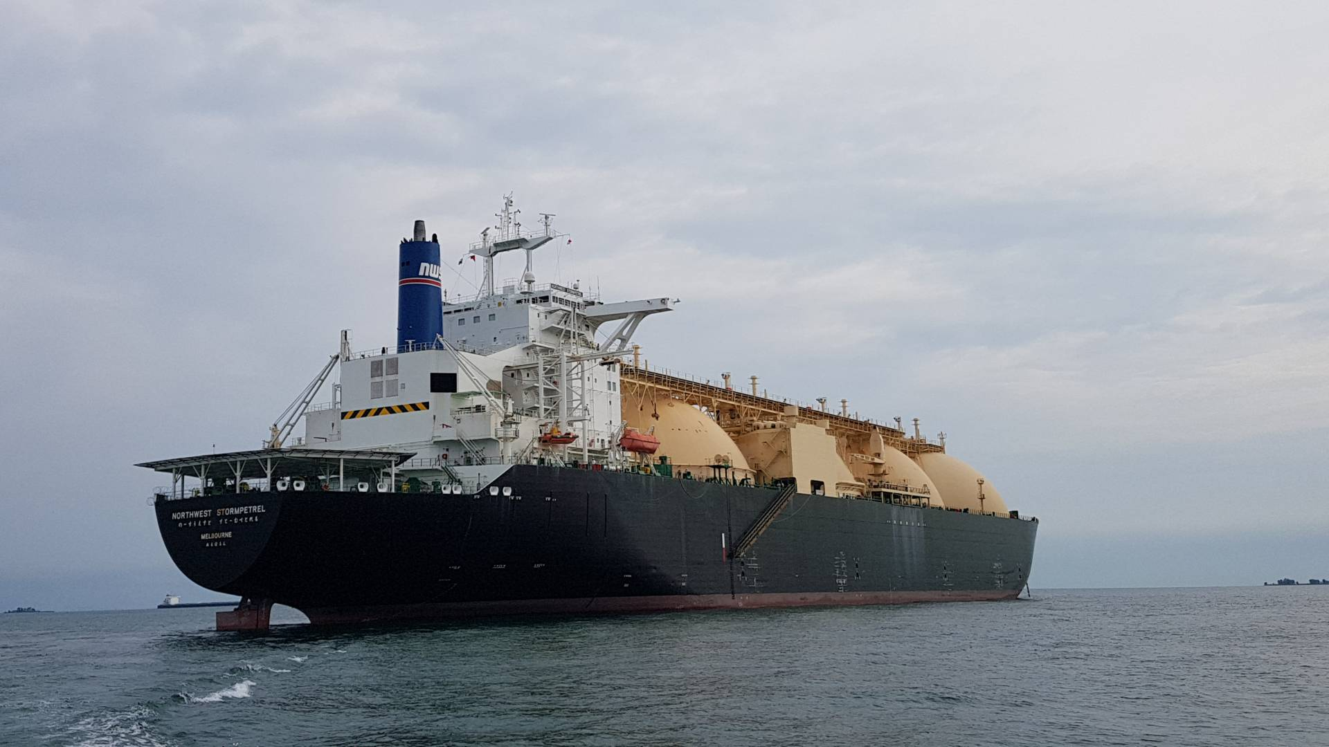 LNG Tanker Northwest Stormpetrel at anchor off Singapore